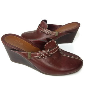 Cole Haan Chestnut Leather Wedge Heel Mules